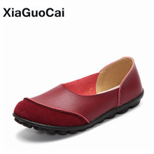 Women's Loafers Spring Autumn Gommino Genuine Leather Female Casual Shoes Flats Breathable Slip-On Doug Shoes Plus Size 35-43