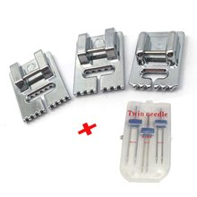 3 Pcs Double Twin Needles Pins (3 Size Mixed 2.0/90 3.0/90 4.0/90) With 3Pcs Gro