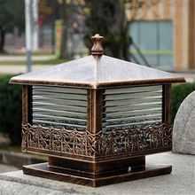 Черный бронзовый винтажный столб светильник садовые ворота столб лампа стеклянный фонарь Открытый Патио двор пейзаж светильник ing ночник