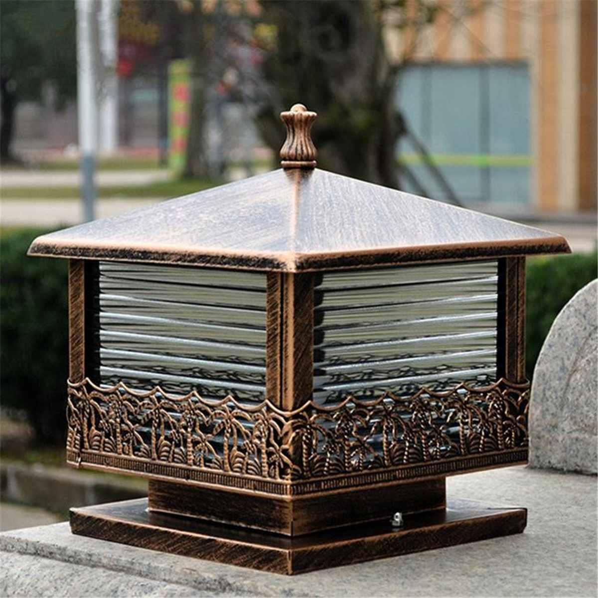 Black Bronze Vintage Pillar Light Garden Gate Post Lamp Glass Lantern Outdoor Patio Yard Landscape Lighting Night Lamp