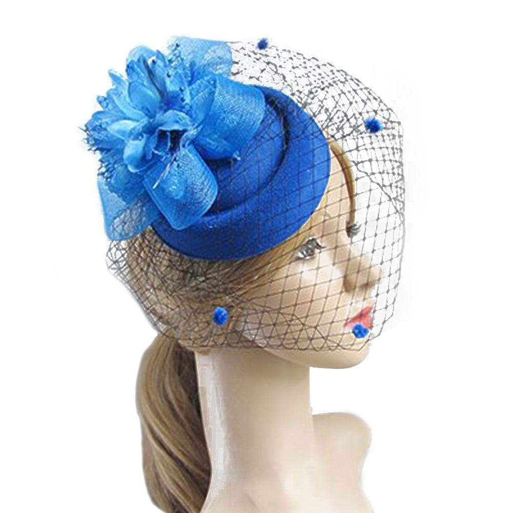 Fascinator Royal Blue Flower Feather Net Headband Fit Ascot Races Weddings