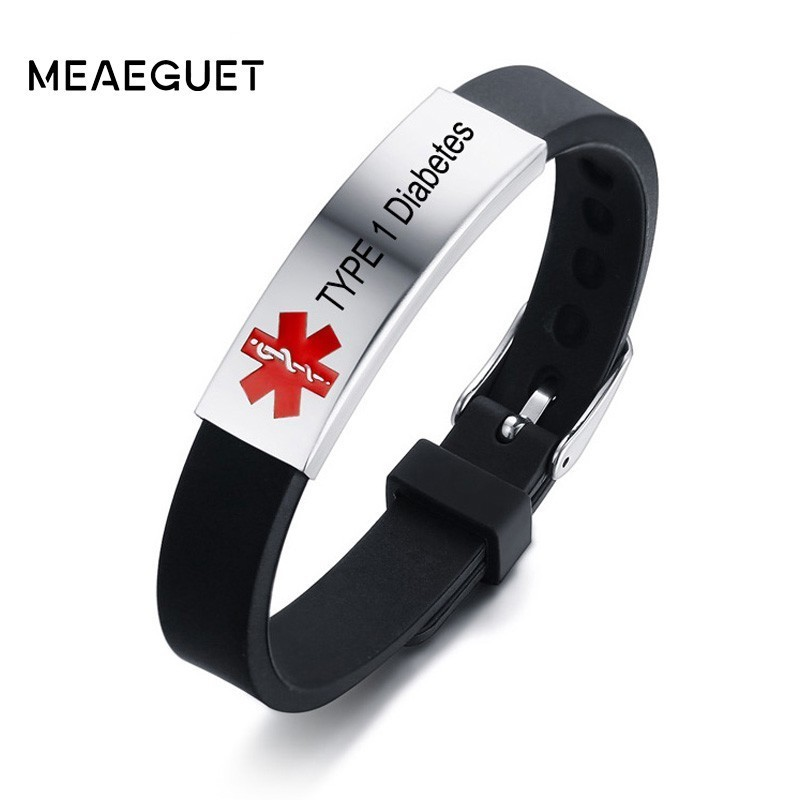 Pre-Engraved /& Customizable Juvenile Diabetes Toggle Medical Alert Bracelet White My Identity Doctor Steel Hearts