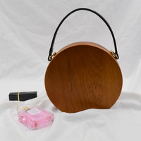 [Telastar] Retro Handmade Wood Women Bag Vintage Circular Leather Strap Tote Envening Clutch Round Messenger Bag For Ladies