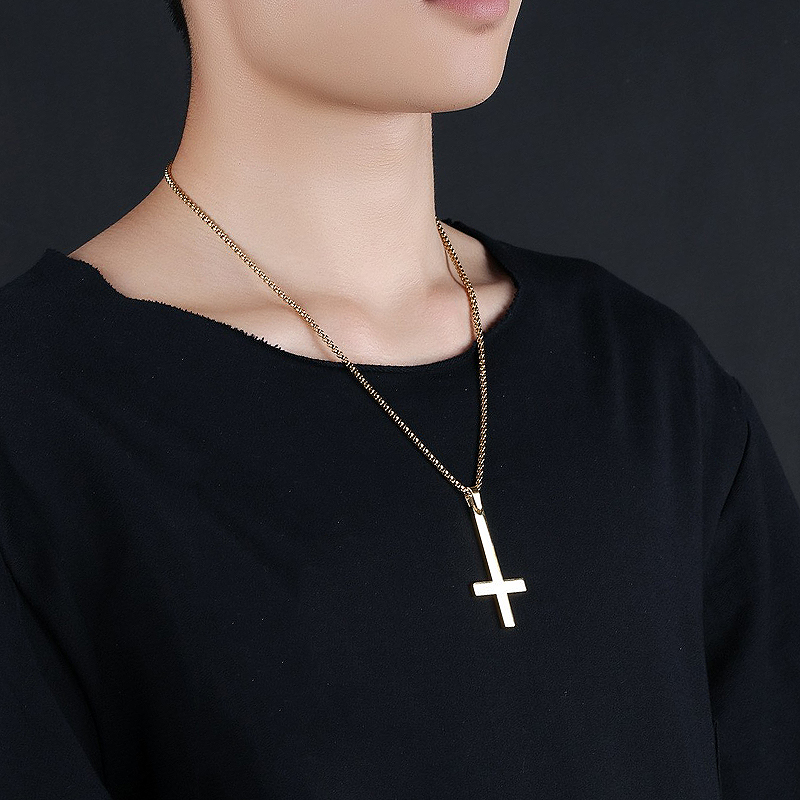 Fashion Stainless Steel Inverted Cross Pendant Necklace Lucifer Satan Punk Jewelry Chain For Men Women Anti-Christian Gift
