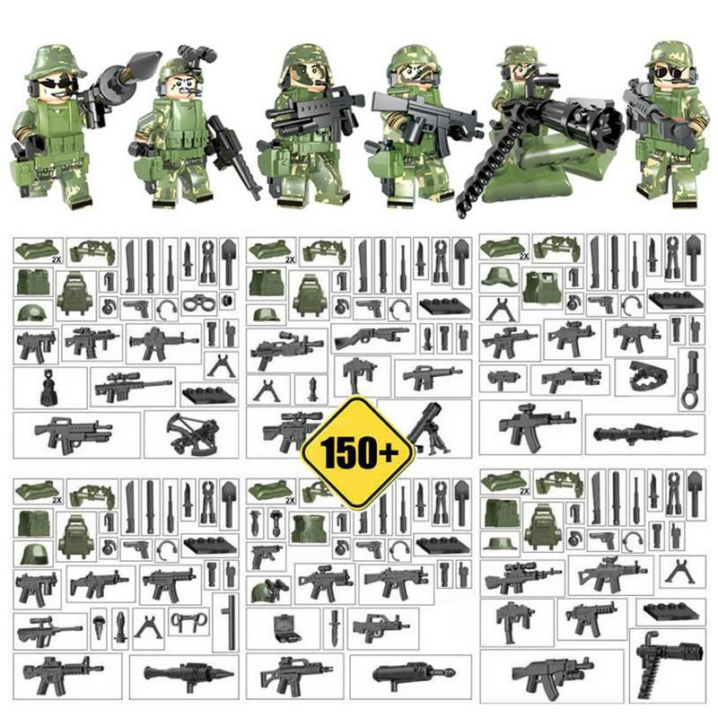 6PCS Military Man Assembled Building Blocks Toys Puzzle Assembly Camouflage Geely Clothing Dolls
