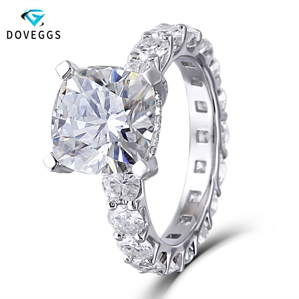 DovEggs 14k White Gold Center 2ct carat F Colorless Moissanite Diamond Engagement Rings For Women Eternity