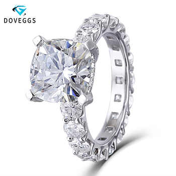 DovEggs 14k White Gold Center 2ct carat F Colorless Moissanite Diamond Engagement Rings For Women Eternity Under Halo Gold Ring - DISCOUNT ITEM  6% OFF All Category
