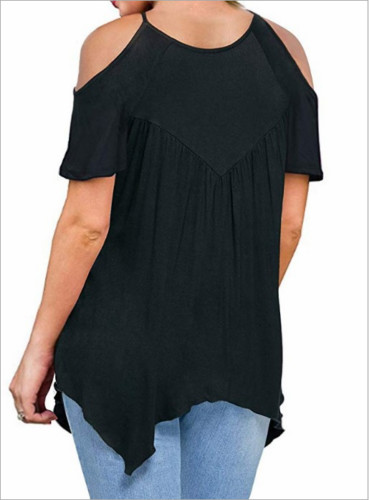 2019 Women Cold Shoulder Soft Loose Sleeveless Lace T shirts Loose Plain Shirt Tops in T Shirts from Women 39 s Clothing