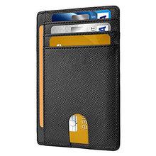 Portefeuille Super mince et souple pour hommes, 100% cuir véritable, Mini carte de crédit, de visite, pour cartes de crédit