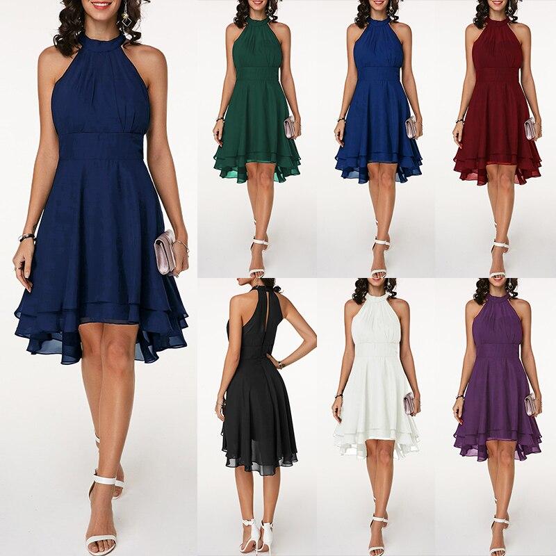 Party Dresses Fashion Women Solid Pleated Chiffon Dress Sexy Halter Sleeveless  Asymmetric 2019 Summer Dress Vestidos