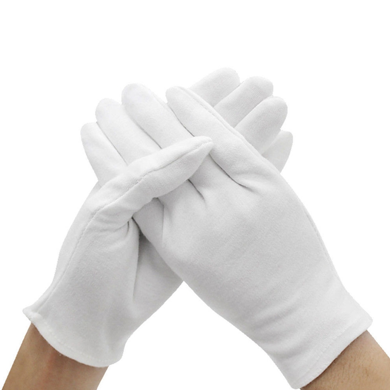 3 PAIR WHITE COTTON LISLE COIN JEWELRY INSPECTION GLOVES PHOTO FILM GOLD MENS LG