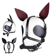 Adjustable Fetish Dog Mask Headgear Slave Silicone Mouth Gag Leather Hood Adult Games Sex Toys For Women Couples цены онлайн