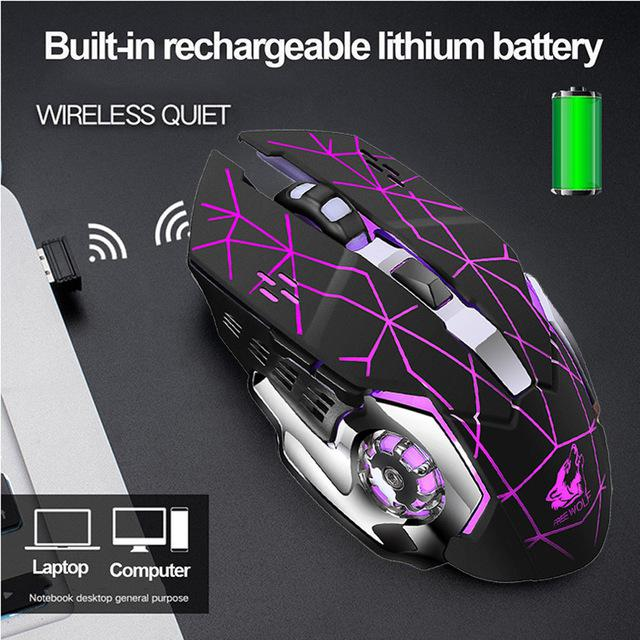 BEESCLOVER Rechargeable Wireless Silent LED Backlit Gaming Mouse USB Optical Mouse For PC Silent Gaming Mouse With Batteries R29