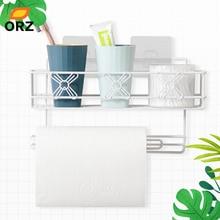 ORZ Bathroom Kitchen Organizer Shelf Paper Towel Holder Spice Rack Wall Mount Storage Basket for Accessories