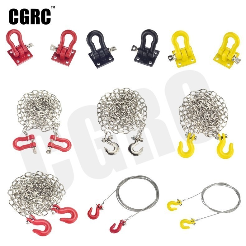 Metal Trailer Hook Rescue Chain Decoration For 1/10 RC Crawler Car TRX4 RC4WD D90 Axial Scx10 Wraith CC01 Tamiya VS4