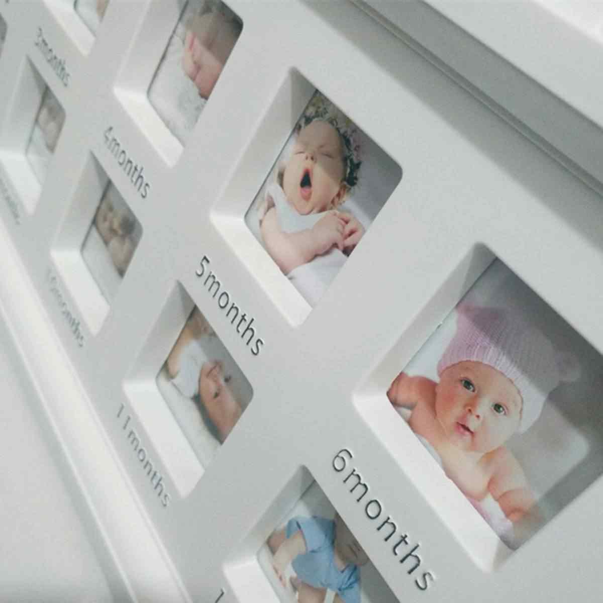 Cute Baby Photo frame DIY handprint or footprint 12 Months Photo Frame Baby Boy Girl My 1 One Year White Blue Pink Home Decor