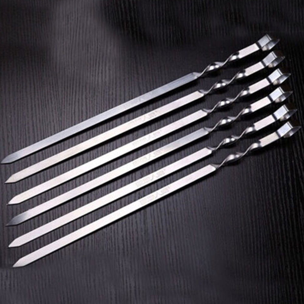 10PCS set BBQ Barbecue Stainless Steel Grilling Kabob Kebab Flat Skewers Needle New