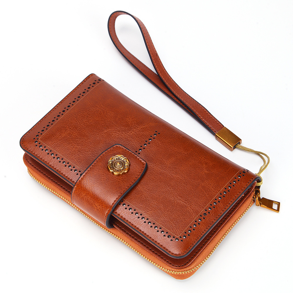 Fashion Genuine Leather Women Wallets Long  Large Capacity Women Purse With Phone Case Female Purse Zipper Ladies Purses Hasp