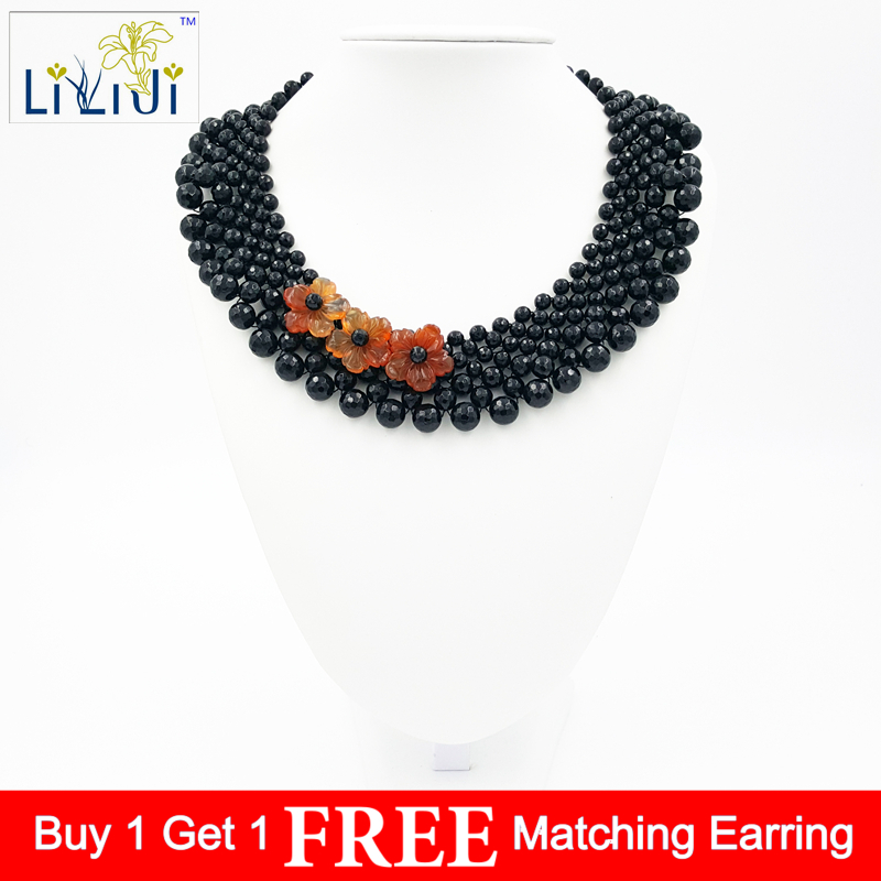 Lii Ji Black Agate,Red Agate Flowers Handmade Knitting Necklace Lii Ji Black Agate,Red Agate Flowers Handmade Knitting Necklace