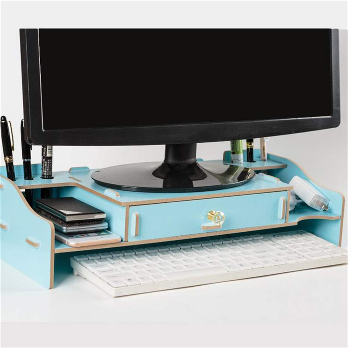 48X20X12cm Wooden Monitor Shelf Plinth Strong Laptop Stand LED LCD Computer Riser Desktop Holder Bracket Home Tablet Lapdesks