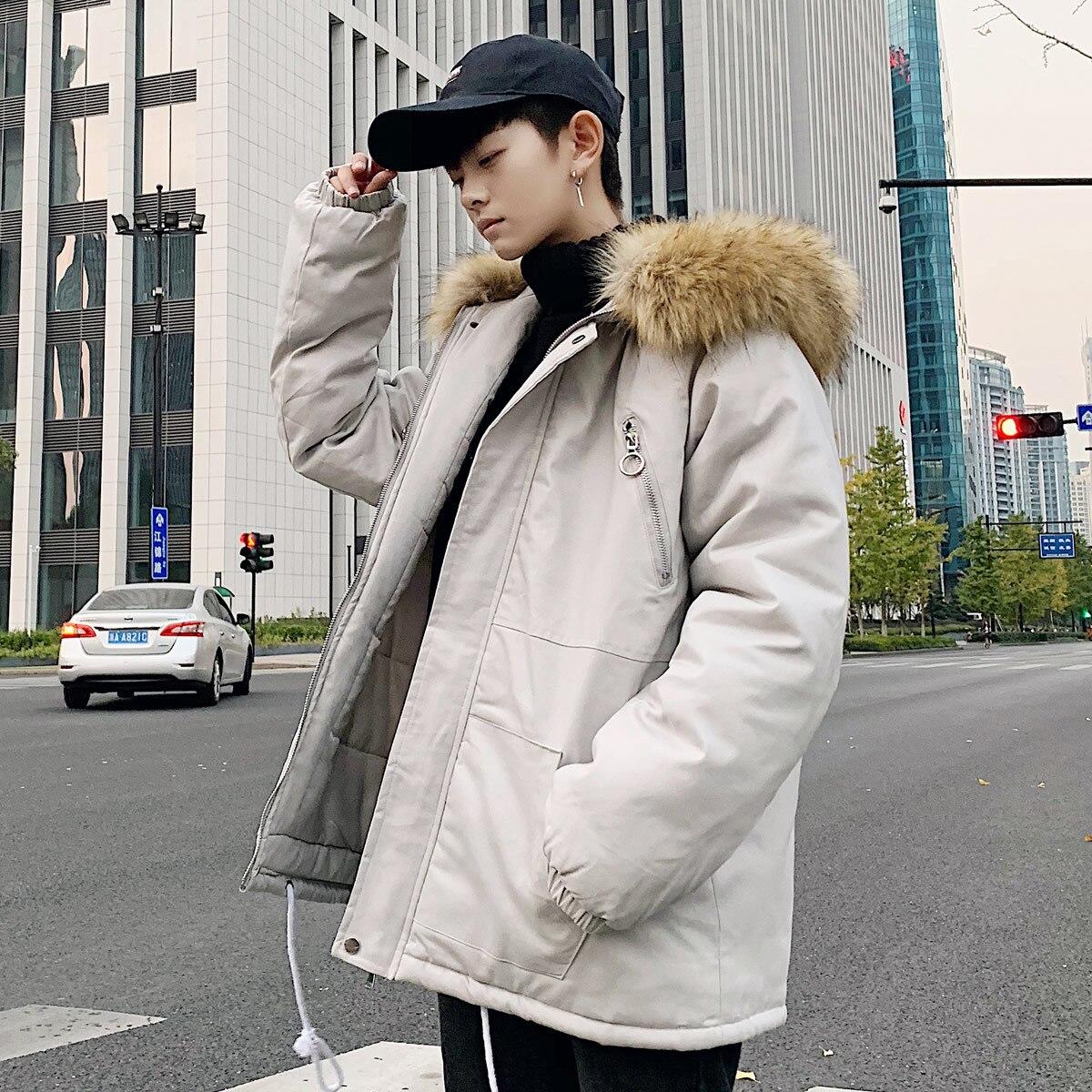 De Impression Col 2018 Veste Homme Coton Hiver Casual grey Rembourré Hommes Neige 2xl Manteau Lâche Parka Lettre M Épaissir Black À Fourrure Capuchon Vêtements AXOwXqr6