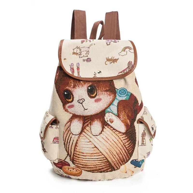 Women Canvas Backpack Cartoon Cat Pattern School Bag Pockets Casual Vintage Bag Travel Drawstring backpack 2#
