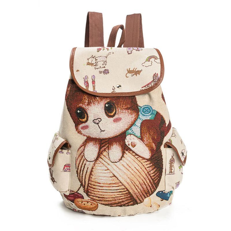 Canvas Backpack Cartoon Cat Pattern School Bag Pockets Vintage Bag Travel Drawstring Backpack 2#