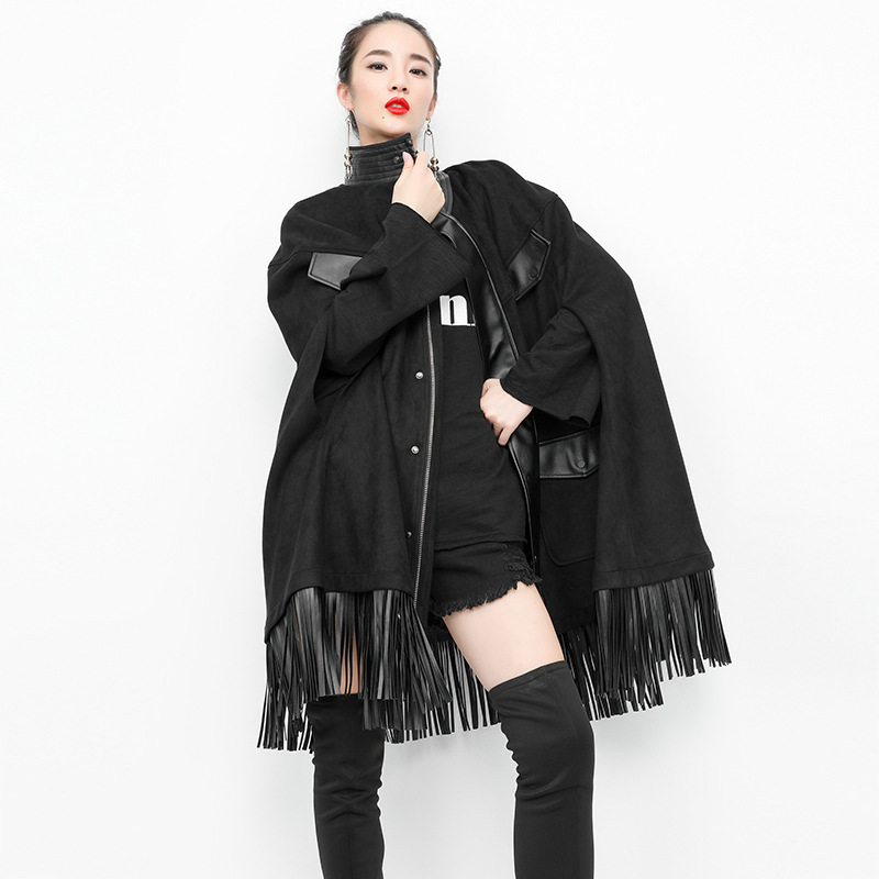 #1031 Autumn Spliced PU Leather Tassels Cloak Windbreaker Cardigan Loose   Trench   Coat Turtleneck Capes High Street Overcoat