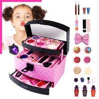 23pcs/set Children's Fake Cosmetics Toy Set Girl Pretend Cosmetics Toys Princess Makeup Palette Bag Non toxic Play House Toy
