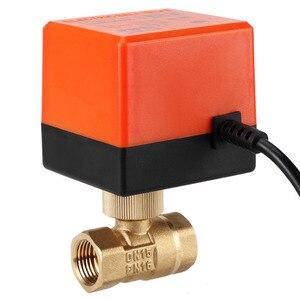 Image 2 - AC 220V DN15 DN25 ボールバルブ真鍮電気電動 2 ウェイ 3 線式ウォーター石油ガスバルブ 1.6Mpa 糸 90 度回転糸