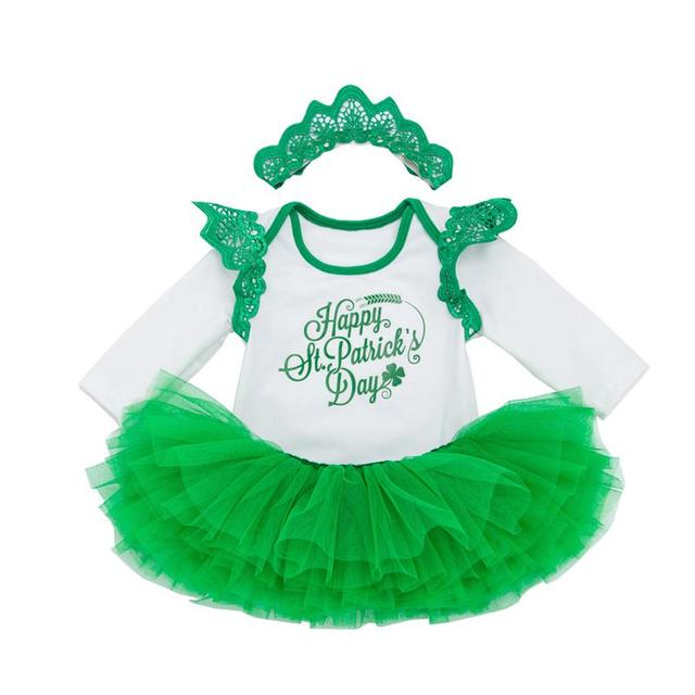 Cotton Soft Children Baby Girl Dresses Sets St. Patrick'S Day Outfit Shamrocks Green Party Costume Dress Set