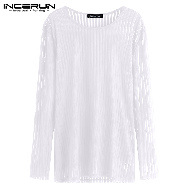 Chic Streetwear Men T Shirts Long Sleeve Crew Neck See Through White Camisas Masculina Joggers Crossfit Bodybuilding Muscle Tee