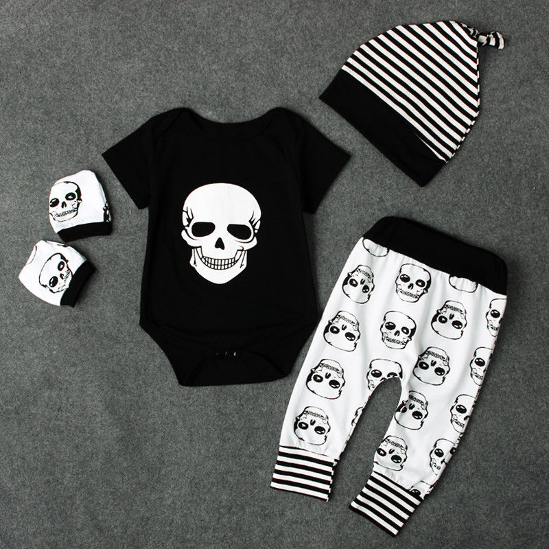 Pudcoco Boy Clothes 0M-18M AU Newborn Kids Baby Boy Skull Outfits Clothes Tops+Long Pants Hat 4pcs Set