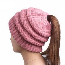 491da71901dba Chapéu de Lã de Crochê moda 11 Cores Outono Suave Malha Caps Gorros Chapéus  de Inverno Para Mulheres De Malha Quente Cap Rabo de.