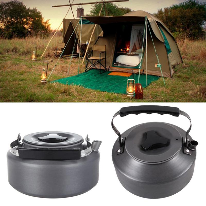 1.1L Portable Outdoor Water Kettle Camping Hiking Travel Survival Coffee Pot Water Kettle Teapot Pot Gripper Camping Picnic Cook