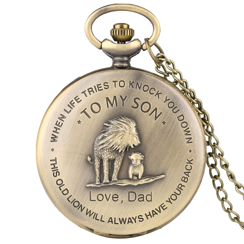 TO MY SON Gifts The Lion King Quartz Pocket Watch Men Retro Bronze Necklace Pendant Clock Souvenir Birthday Gifts For Boys Son