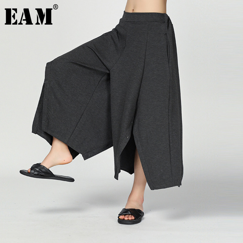 [EAM] 2019 New Spring Summer High Elastic Waist Gray Buton Irregular Loose Wide Leg Pants Women Trousers Fashion Tide JS097