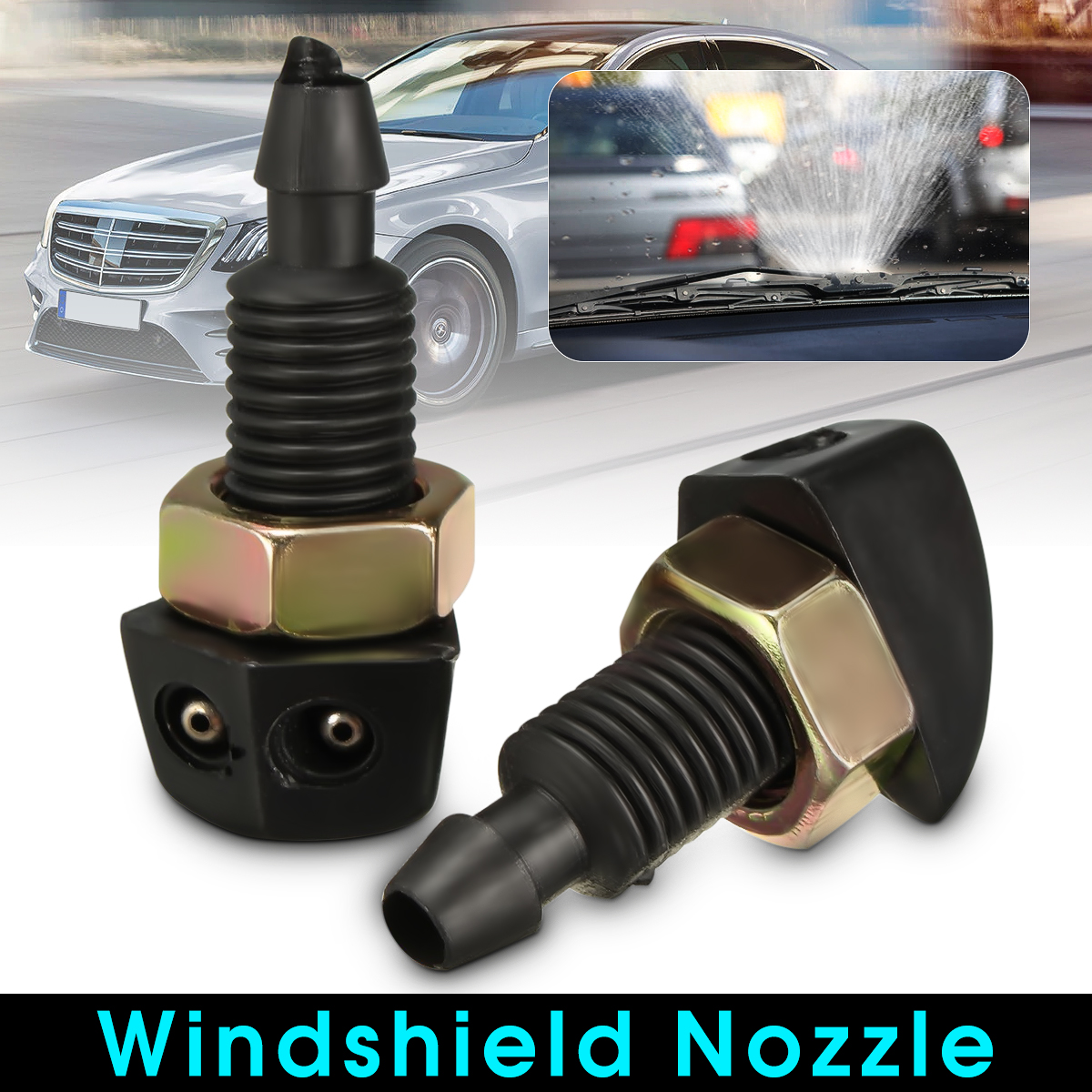 2 pcs Universal Car Vehicle Front Windshield Washer Sprayer Nozzle Plastic Black