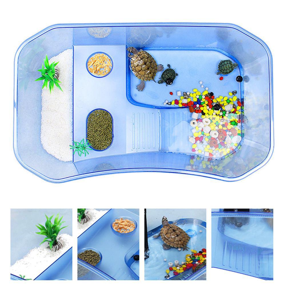 Reptile Turtle Tortoise Vivarium Box Nursery Aquarium Tank With Enjoying Basking Ramp Pet Accessories Non-toxic Plastic