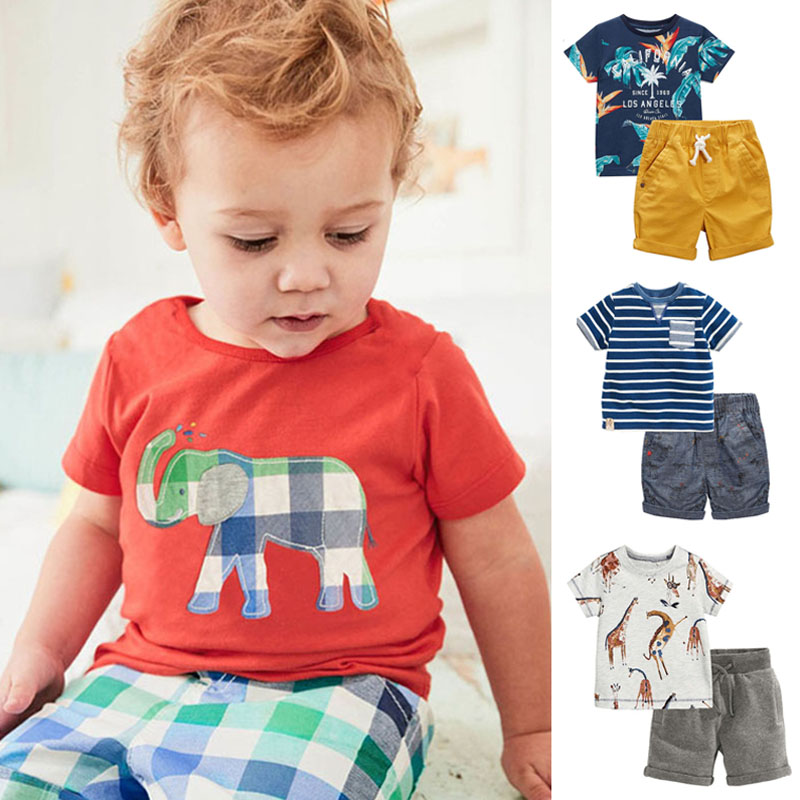 جديد 2019 جودة العلامة التجارية 100 ٪ القطن طفل الفتيان الملابس مجموعات الصيف الأطفال يناسب الاطفال ملابس قصيرة الأكمام طفل رضيع الملابس مجموعات