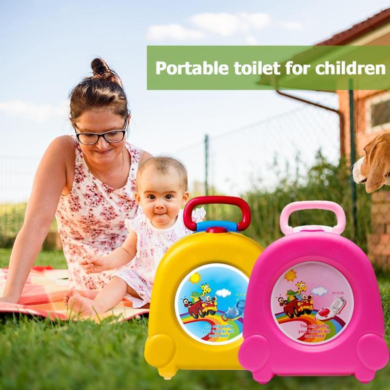 Cute Baby Toilet portátil de viaje coche Infante Silla de Entrenamiento Educativo niños olla plegable asiento al aire libre