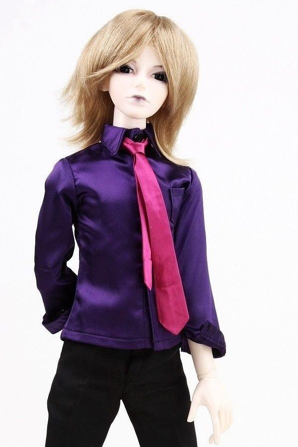 [Wamami] 529# фиолетовая атласная рубашка/наряд 1/4 MSD DOD BJD Dollfie