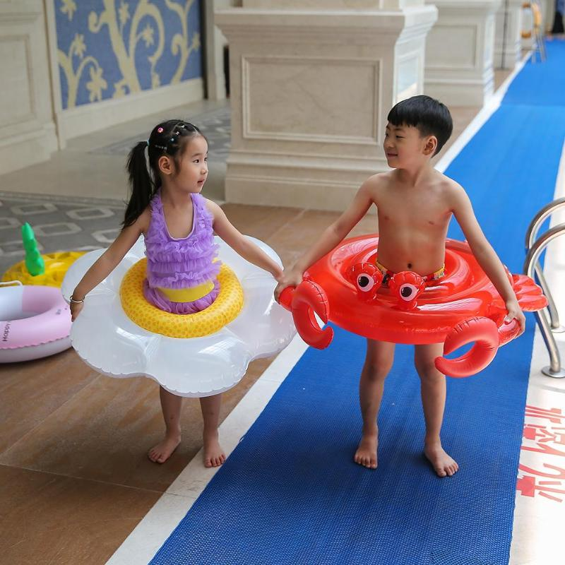 Cute Crab Swinming Ring Cartoon Poached Egg Safe Baby Swimming Circle Kids Beach Toys Water Fun Toys