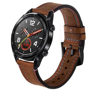 Image 3 - 22MM Smart Replacement Sports Watch With Leather Watch Strap Crazy Horse Double Line Wristband For Huawei Watch Honor Magic