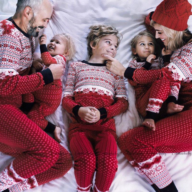 95a9bb8e51 Christmas Family Matching Pajamas set Xmas Snow Red Sleepwear Adults Kids  Party Nightwear Party Homewear Cotton