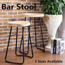Retro Vintage Industrial Bar Stool 45/60/75cm Counter Seat Pub Kitchen Decoration Metal Wood Chair Outdoor Bar Furniture(China)