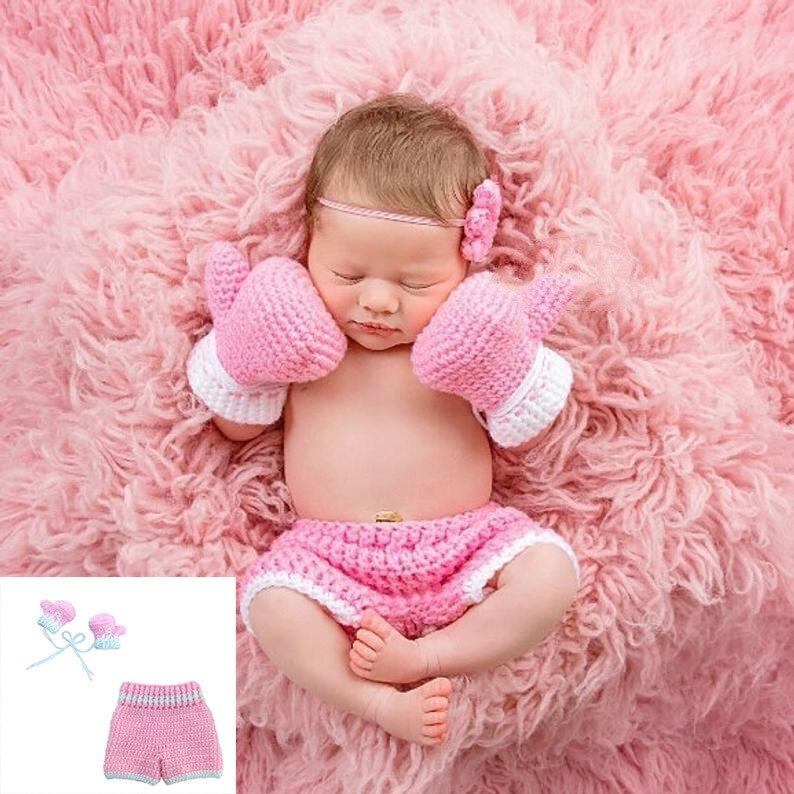 12M Baby Hand Crochet Knitted Bow Headband//Hat Photo Prop Girl Pink Newborn