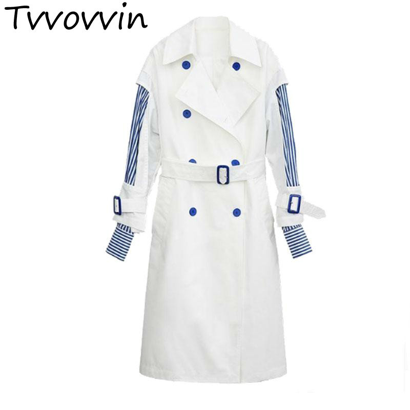 TVVOVVIN Women   Trench   Sleeve Double Breasted Stripes Spliced Fake Two Female Overcoat Lace Up Bow Long Coat 2019 E286