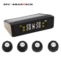 SMARTECH TPMS Car Solar Power Tire Pressure Monitoring System, tire pressure sensor and LCD Display receiver with Voice Warning