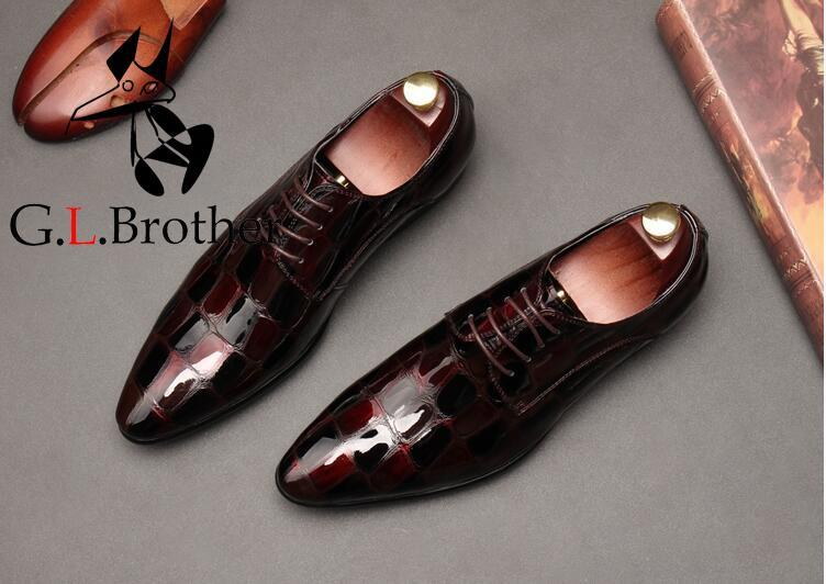 Shoes Men Genuine Patent Leather Stone Pattern Smart Casual Shoes Lace Up Red Wedding Single Shoes Height Increasing Oxfords red off shoulder lace up elastic waistband casual co ords